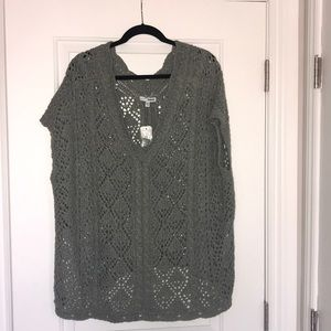 Short sleeved sweater/shawl, moss green, NWT, S/M